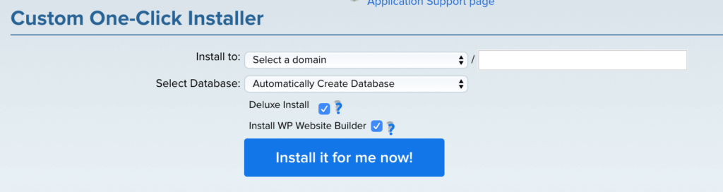 Customer WordPress One-Click Installer
